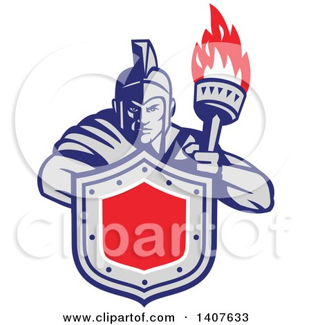 Clipart of a Retro Angry Greek Warrior Holding a Flaming Torch and Shield - Royalty Free Vector Illustration by patrimonio