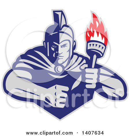 Clipart of a Retro Angry Greek Warrior Holding a Flaming Torch, with a Balled Fist - Royalty Free Vector Illustration by patrimonio