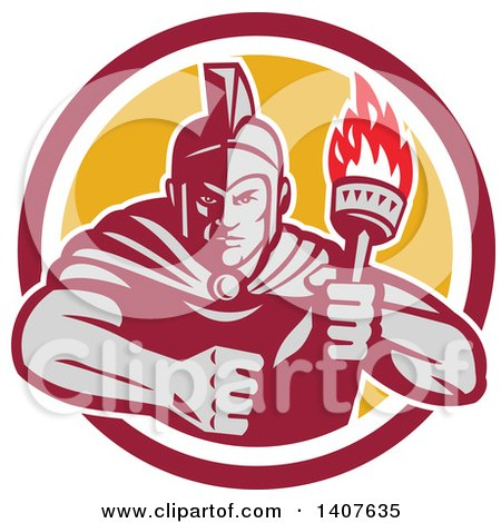Clipart of a Retro Angry Greek Warrior Holding a Flaming Torch, with a Balled Fist in a Red White and Yellow Circle - Royalty Free Vector Illustration by patrimonio