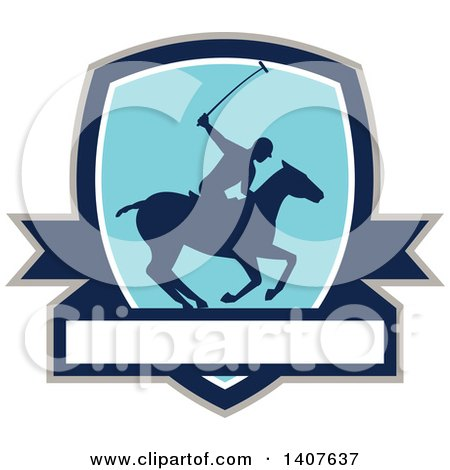 Clipart of a Silhouetted Polo Player on Horseback, Swinging a Mallet in a Shield over a Banner - Royalty Free Vector Illustration by patrimonio