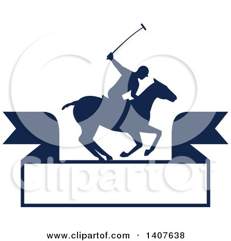 Clipart of a Silhouetted Polo Player on Horseback, Swinging a Mallet over a Banner - Royalty Free Vector Illustration by patrimonio