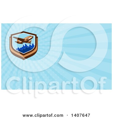 Clipart of a Retro Vintage Passenger DC10 Airplane Flying over a City and Blue Rays Background or Business Card Design - Royalty Free Illustration by patrimonio