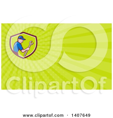 Clipart of a Retro Cartoon White Handy Man Holding a Spanner Wrench and Green Rays Background or Business Card Design - Royalty Free Illustration by patrimonio