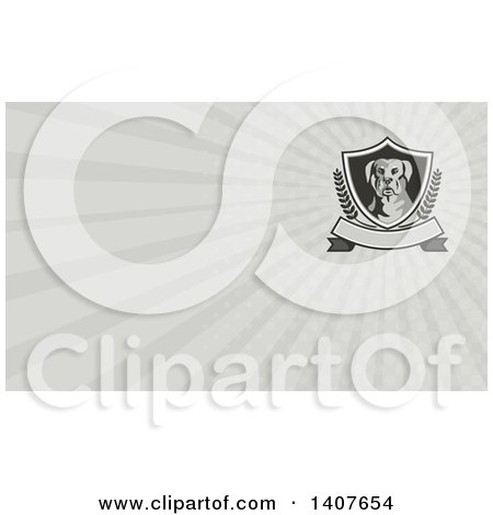 Clipart of a Rottweiler and Gray Rays Background or Business Card Design - Royalty Free Illustration by patrimonio