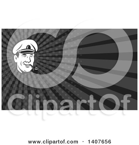 Clipart of a Retro Black and White Sea Captain Smoking a Pipe and Gray Rays Background or Business Card Design - Royalty Free Illustration by patrimonio
