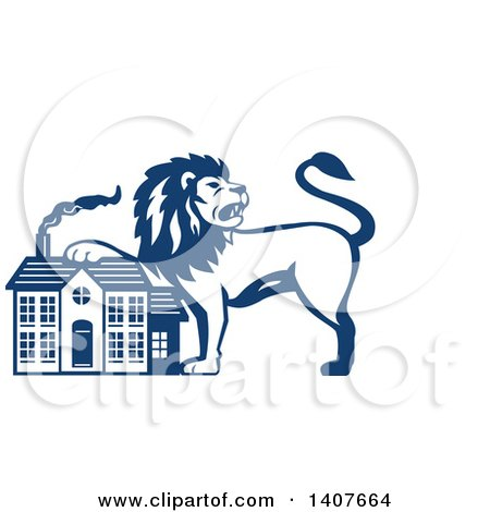 Clipart of a Retro Blue and White Male Lion Resting a Paw on a House - Royalty Free Vector Illustration by patrimonio
