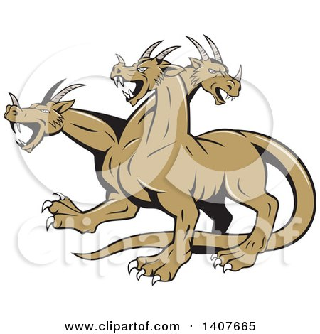 Clipart of a Retro Hydra Serpent Monster - Royalty Free Vector Illustration by patrimonio