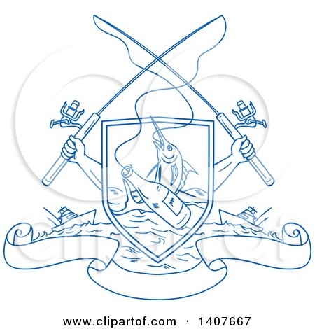 Clipart of Blue Sketched Crossed Arms Holding Fishing Rods over a Shield with a Marlin Fish and Beer Bottle over Water, Ships and Banners - Royalty Free Vector Illustration by patrimonio