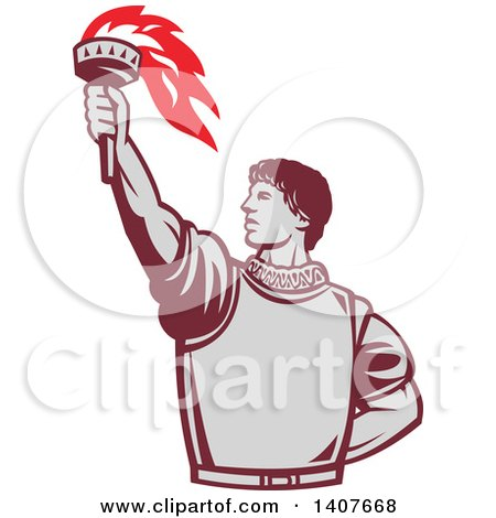 Clipart of a Retro Spanish Conquistador Holding up a Torch - Royalty Free Vector Illustration by patrimonio