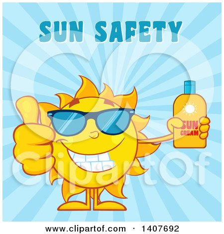 Clipart of a Yellow Summer Time Sun Character Mascot Giving a Thumb up and Holding a Bottle of Lotion on Blue - Royalty Free Vector Illustration by Hit Toon