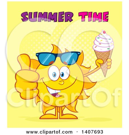 Clipart of a Yellow Summer Time Sun Character Mascot Holding a Waffle Ice Cream Cone and Giving a Thumb Up, on Yellow - Royalty Free Vector Illustration by Hit Toon
