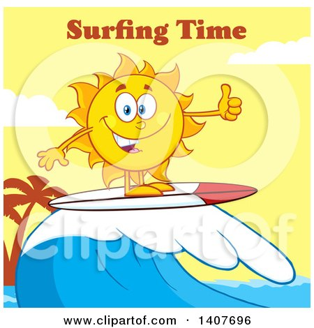 Clipart of a Yellow Summer Time Sun Character Mascot Surfing and Giving a Thumb up Against a Yellow Sunset and Surfing Time Text - Royalty Free Vector Illustration by Hit Toon