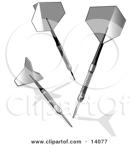 Three Darts Over White Clipart Illustration by Leo Blanchette