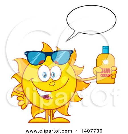 Clipart of a Yellow Summer Time Sun Character Mascot Talking and Holding a Bottle of Lotion - Royalty Free Vector Illustration by Hit Toon