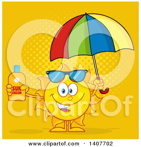 Clipart of a Yellow Summer Time Sun Character Mascot Holding an Umbrella and a Bottle of Lotion, over Orange - Royalty Free Vector Illustration by Hit Toon
