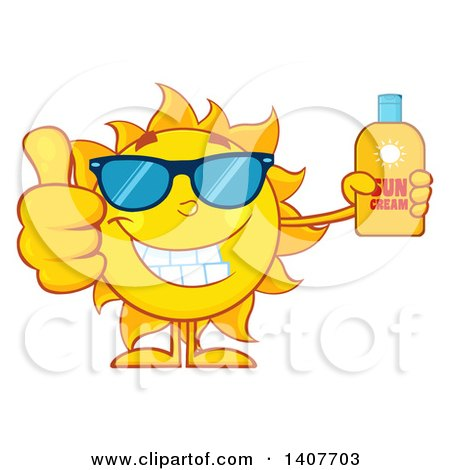 Clipart of a Yellow Summer Time Sun Character Mascot Giving a Thumb up and Holding a Bottle of Lotion - Royalty Free Vector Illustration by Hit Toon