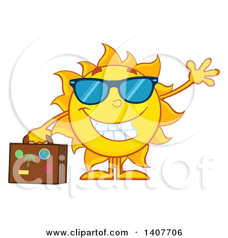 Clipart of a Yellow Summer Time Sun Character Mascot Waving and Holding a Suitcase - Royalty Free Vector Illustration by Hit Toon