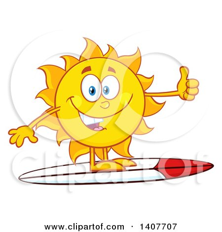 Clipart of a Yellow Summer Time Sun Character Mascot Surfing and Giving a Thumb up - Royalty Free Vector Illustration by Hit Toon