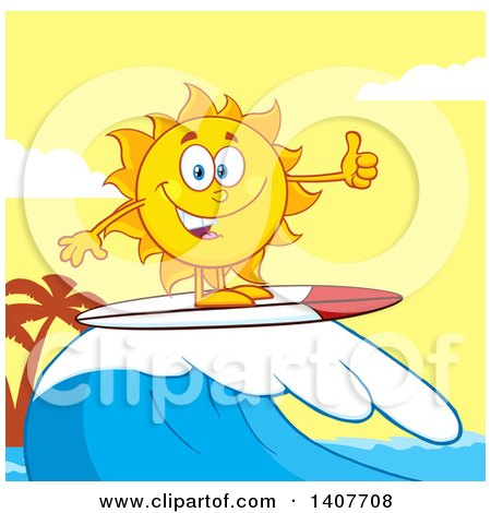 Clipart of a Yellow Summer Time Sun Character Mascot Surfing and Giving a Thumb up Against a Yellow Sunset - Royalty Free Vector Illustration by Hit Toon