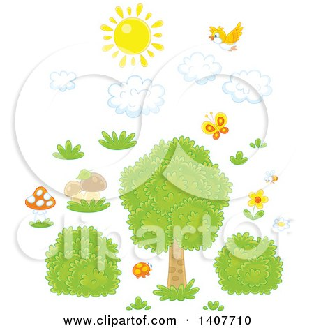 Clipart of a Yellow Bird and Sun with Clouds over Grass, Mushrooms, Shrubs and a Tree - Royalty Free Vector Illustration by Alex Bannykh