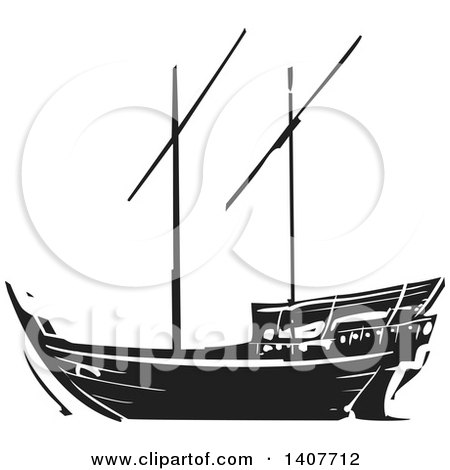 Clipart of a Black and White Woodcut Dhow Ship - Royalty Free Vector Illustration by xunantunich