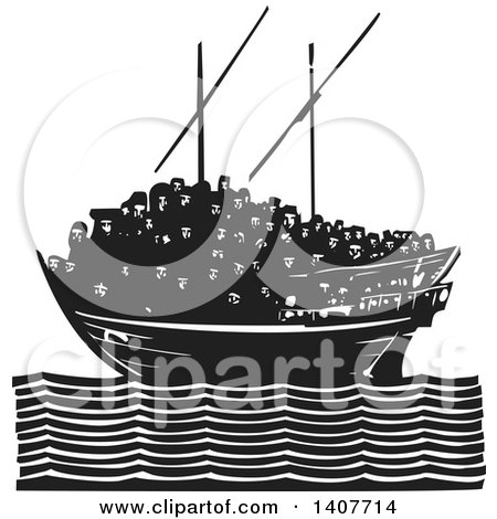 Clipart of a Black and White Woodcut Dhow Ship Crowded with Refugees on a Calm Ocean - Royalty Free Vector Illustration by xunantunich