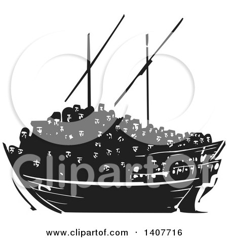 Clipart of a Black and White Woodcut Dhow Ship Crowded with Refugees - Royalty Free Vector Illustration by xunantunich