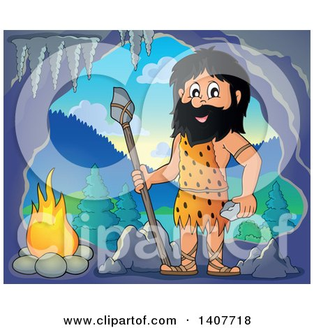 Clipart of a Caveman Holding a Stone Spear and Rock by a Fire in Cave - Royalty Free Vector Illustration by visekart