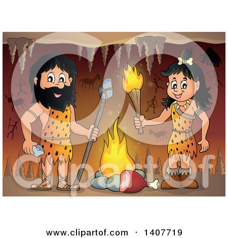 Clipart of a Caveman and Woman by a Fire in a Cave - Royalty Free Vector Illustration by visekart