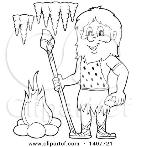 Clipart of a Black and White Lineart Caveman Holding a Stone Spear and Rock - Royalty Free Vector Illustration by visekart