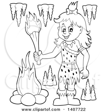 Clipart of a Black and White Lineart Cavewoman Holding a Torch - Royalty Free Vector Illustration by visekart