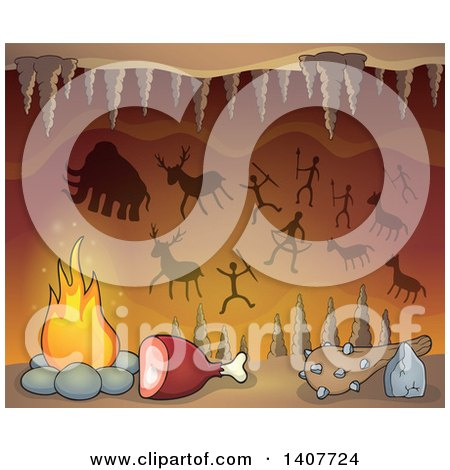 Clipart of a Caveman Cave with Petroglyphs, Meat, a Club and Fire - Royalty Free Vector Illustration by visekart