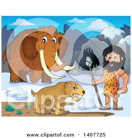 Clipart of a Caveman Holding a Stone Spear by a Cave, Woolly Mammoth and Saber Toothed Cat - Royalty Free Vector Illustration by visekart