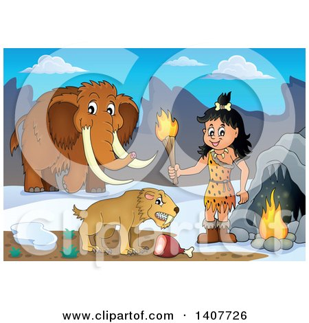 Clipart of a Cavewoman Holding a Torch by a Cave, Saber Toothed Cat and Woolly Mammoth - Royalty Free Vector Illustration by visekart