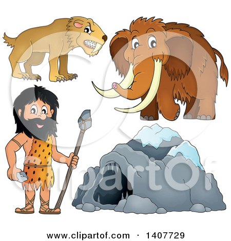Clipart of a Caveman, Cave, Woolly Mammoth and Saber Toothed Cat - Royalty Free Vector Illustration by visekart