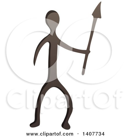 Clipart of a Prehistoric Caveman Holding a Spear Petroglyph - Royalty Free Vector Illustration by visekart