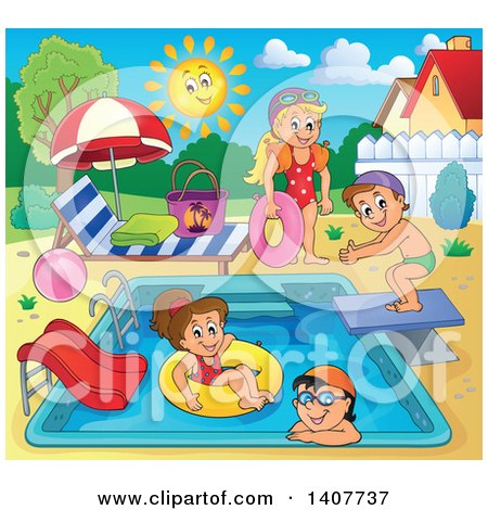 Clipart of Children Foating on Inner Tubes and Swimming at a Pool Party - Royalty Free Vector Illustration by visekart