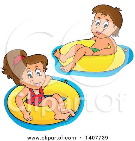 Clipart of Children Foating on Inner Tubes - Royalty Free Vector Illustration by visekart