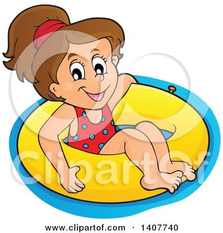 Clipart of a Happy Brunette Caucasian Girl Floating on an Inner Tube - Royalty Free Vector Illustration by visekart