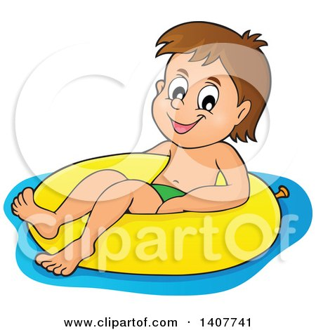 Clipart of a Happy Brunette Caucasian Boy Floating on an Inner Tube - Royalty Free Vector Illustration by visekart