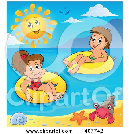 Clipart of Children Foating on Inner Tubes in the Ocean - Royalty Free Vector Illustration by visekart