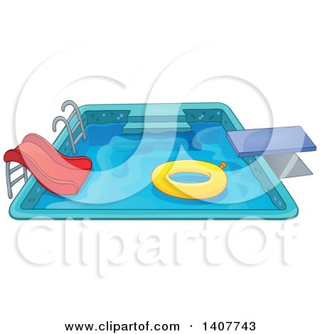 Clipart of a Swimming Pool with a Ladder, Slide, Diving Board and Inner Tube - Royalty Free Vector Illustration by visekart