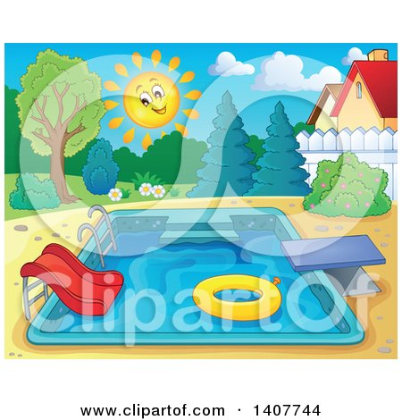 Clipart of a Swimming Pool with a Ladder, Slide, Diving Board and Inner Tube in a Yard - Royalty Free Vector Illustration by visekart