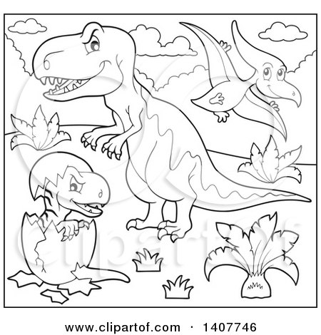 Clipart of a Black and White Lineart Pterodactyl over a Tyrannosaurus Rex Dinosaur and Hatching Baby - Royalty Free Vector Illustration by visekart