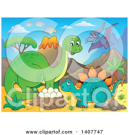 Clipart of a Happy Green Apatosaurus Dinosaur, Stegosaur and Pterodactyl by a Nest in a Volcanic Landscape - Royalty Free Vector Illustration by visekart