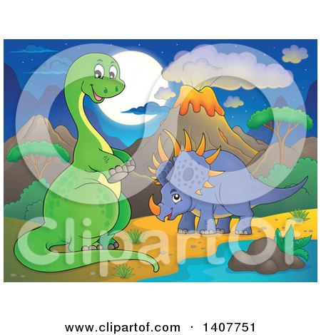 Clipart of a Happy Green Apatosaurus Dinosaur and Triceratops in a Volcanic Landscape at Night - Royalty Free Vector Illustration by visekart