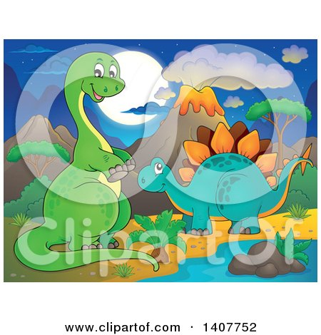 Clipart of a Happy Green Apatosaurus Dinosaur and Stegosaur in a Volcanic Landscape at Night - Royalty Free Vector Illustration by visekart