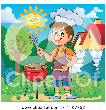 Clipart of a Happy Caucasian Boy Cooking on a Bbq Grill in a Yard - Royalty Free Vector Illustration by visekart