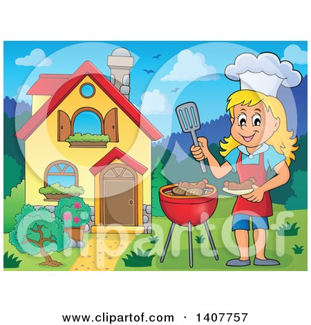 Clipart of a Happy Caucasian Girl Cooking on a Bbq Grill by Her House - Royalty Free Vector Illustration by visekart