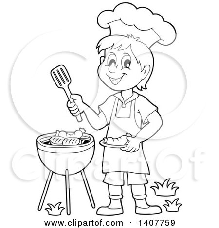 Clipart Of A Black And White Lineart Happy Boy Cooking On A Bbq